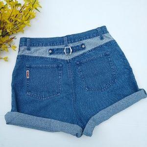 Vintage • high rise jean shorts, plaid pocket